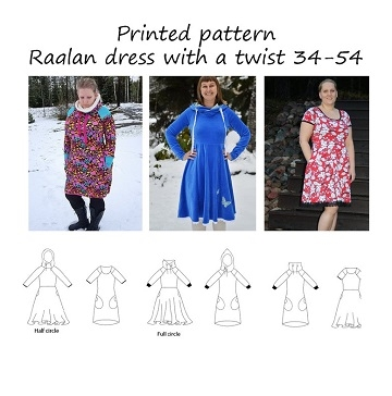 Made by Runi - Raglan dress with a twist - str. 34-54